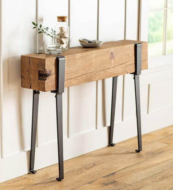RECLAIMED WOOD CONSOLE TABLE YOUNGSTOWN FOUNDRY BY PLOW & HEARTH