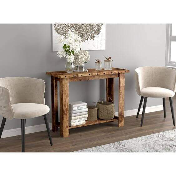 RECLAIMED WOOD SHELF CONSOLE TABLE SAFDIE & CO.