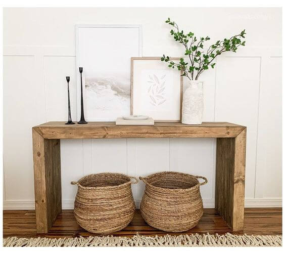 RECLAIMED WOOD THICK TIMBER CONSOLE TABLE