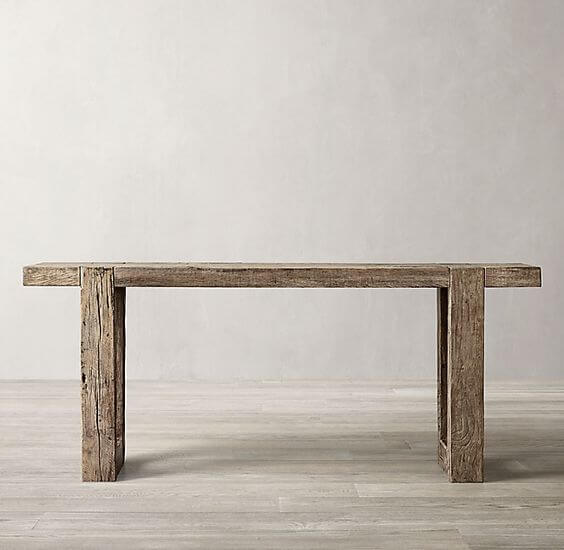 RUSTIC OAK FROM RH RECLAIMED WOOD CONSOLE TABLE