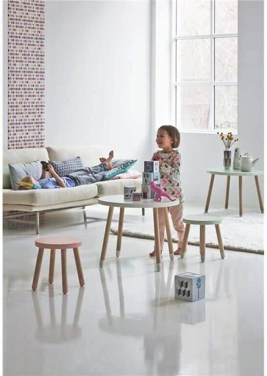 STOOL-LIKE CHILDRENS WOOD TABLE AND CHAIRS SETS