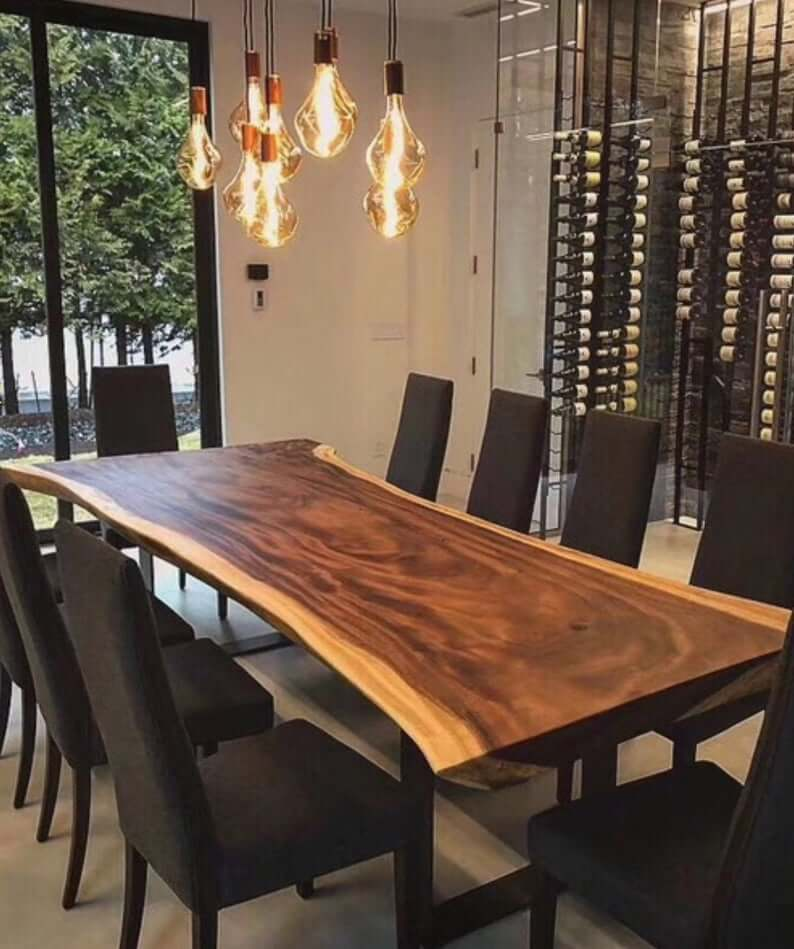 BEST WALNUT AND SOLID WOOD SLAB DINING TABLE