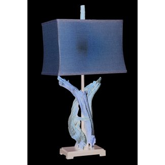 BLUE TWISTED DRIFT WOOD TABLE LAMPS