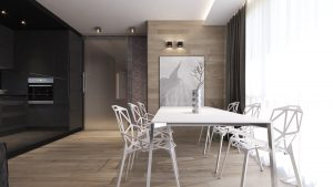 CONTEMPORARY ROOM STYLE WITH NATURAL LIGHT WOOD DINING TABLE