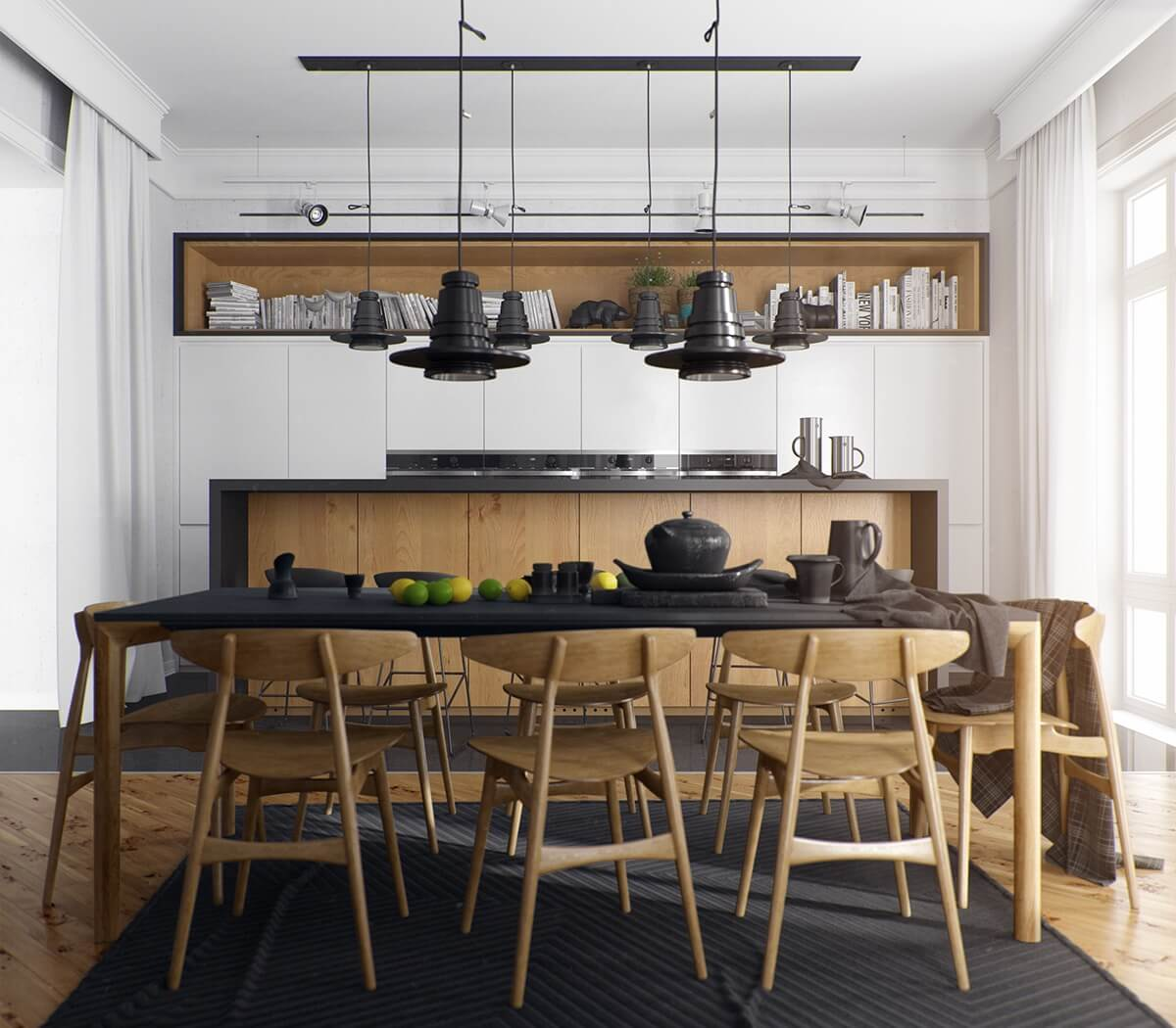 INDUSTRIAL LIGHT AND DARK WOOD DINING TABLE