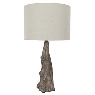 IVORY LINEN SHADE BROWN GRAY DRIFT WOOD TABLE LAMPS