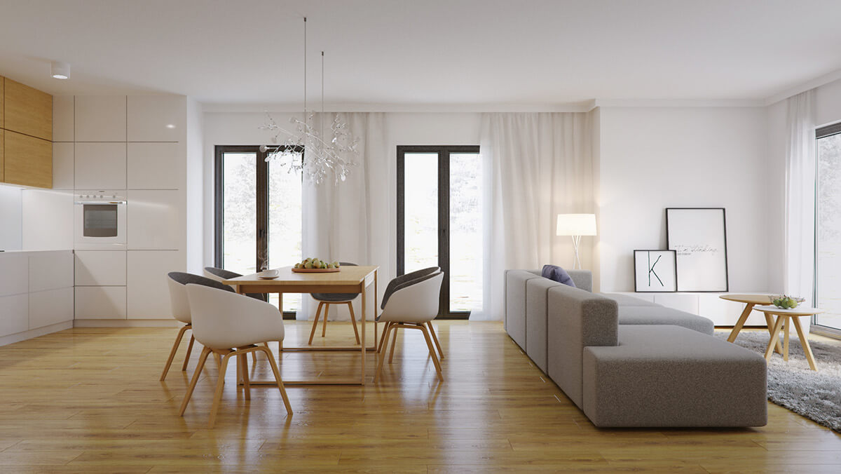 LIGHT WOOD DINING TABLE WITH WHITE COMFORTABLE CHAIR