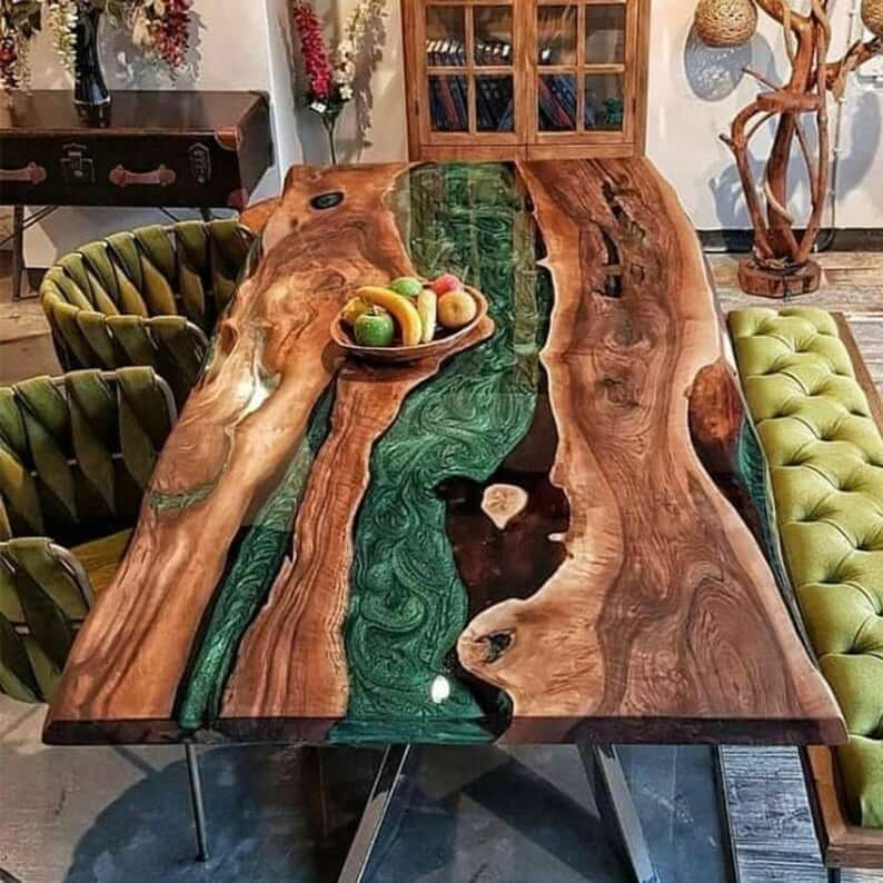 MIXED WITH GREEN EPOXY RESIN WALNUT WOOD SLAB DINING TABLE