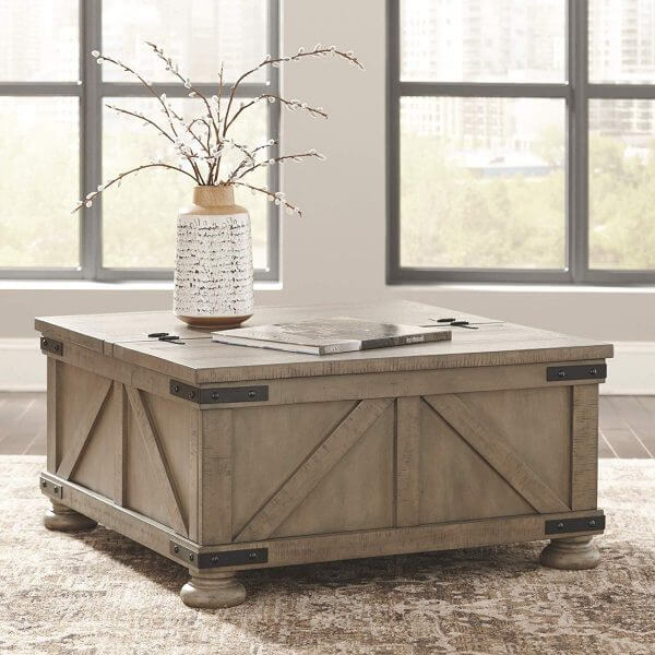 RUSTIC PINE WOOD COFFEE TABLE WITH LARGE STORAGE FOR BLANKETS LIVING ROOM