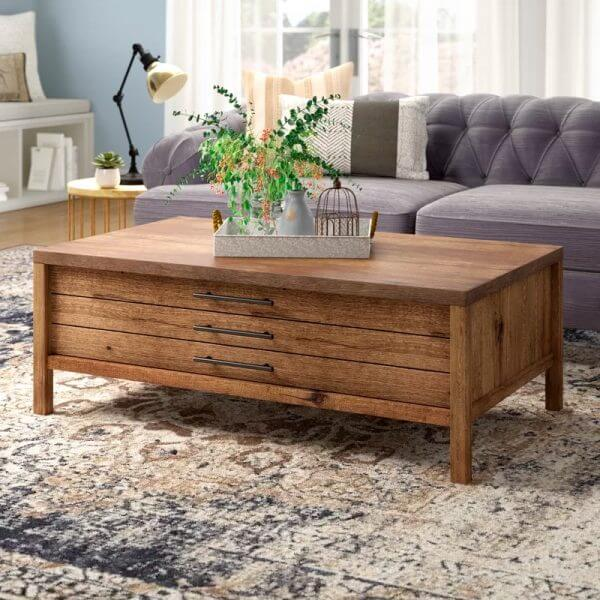RUSTIC WOOD COFFEE TABLE WITH PULL OUT DRAWERS