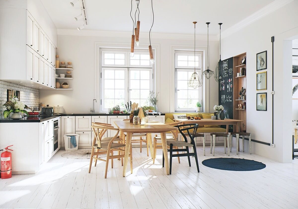SIMPLE ECLECTIC WHITE IDEAS FOR LIGHT WOOD DINING TABLE
