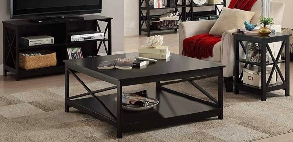 SIMPLE RUSTIC WOOD COFFEE TABLE DOMINANT BLACK COLOR
