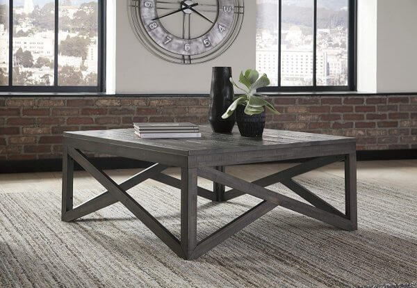 SQUARE GRAY RUSTIC WOOD COFFEE TABLE
