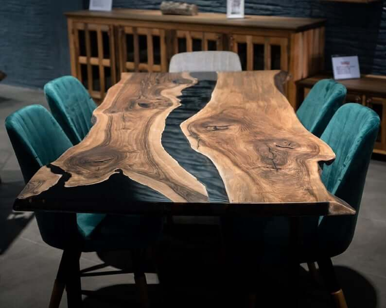 UNIQUE WOOD SLAB DINING TABLE WITH EPOXY RESIN
