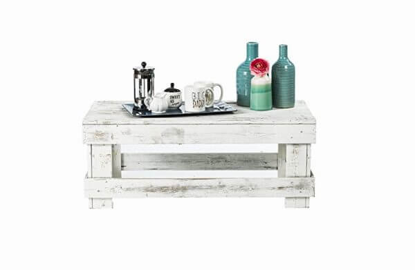 WHITE RECLAIMED RUSTIC WOOD COFFEE TABLE
