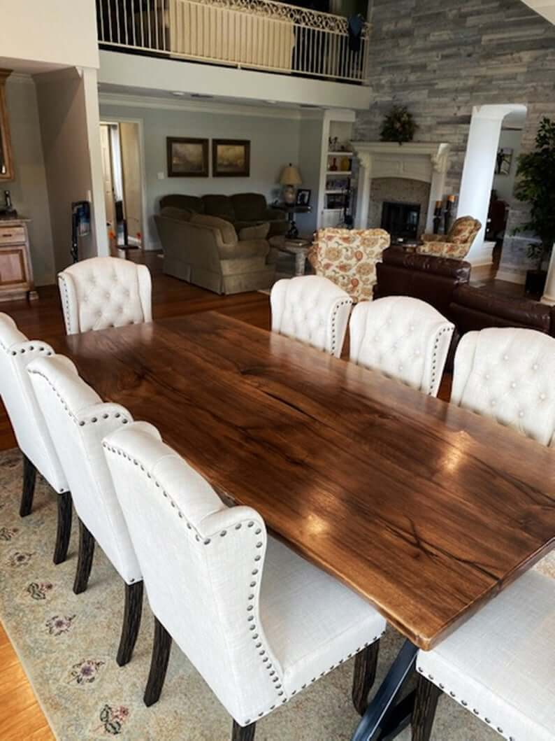 WOOD SLAB DINING TABLE WITH METAL AND IRON LEGS