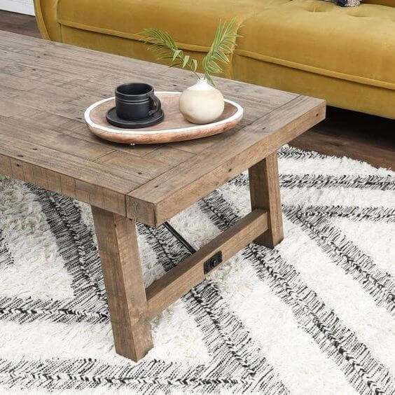 A LITTLE GREY DISTRESSED WOOD COFFEE TABLE