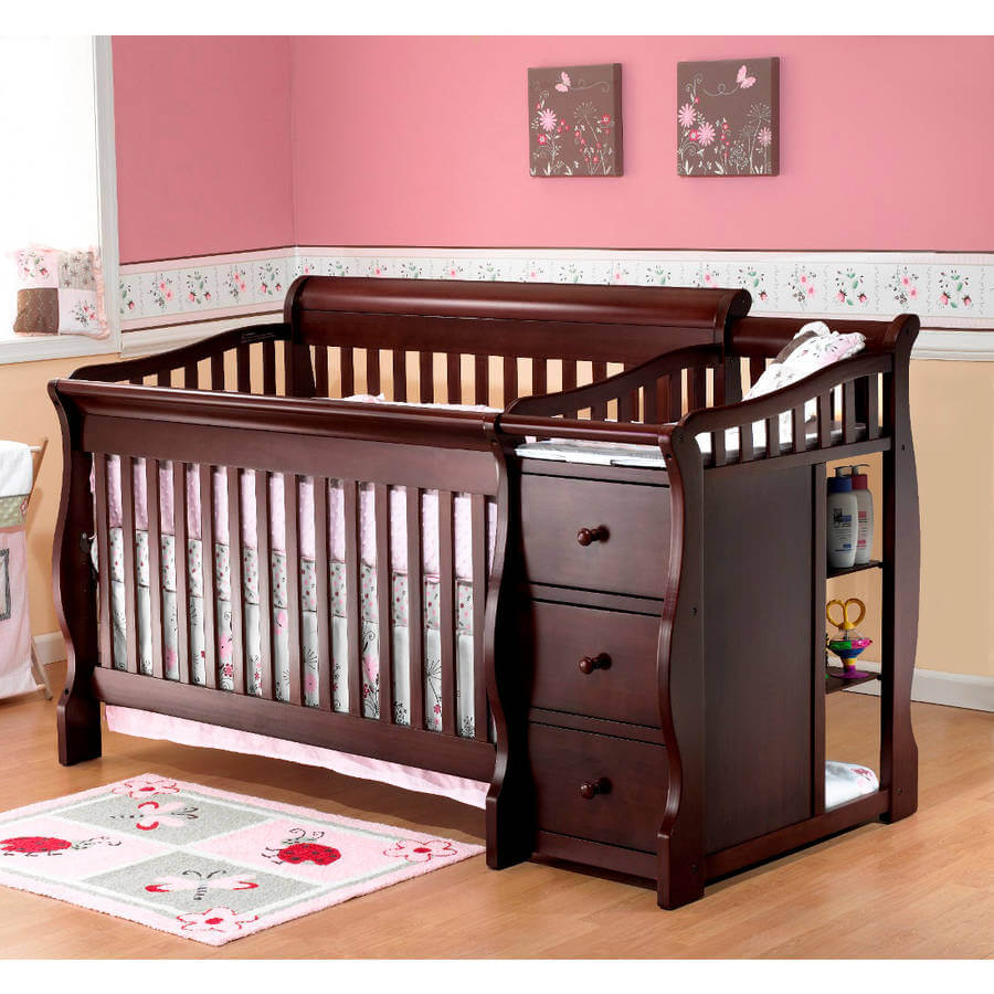 CHERRY WOOD CHANGE TABLE WITH A CRIB SET