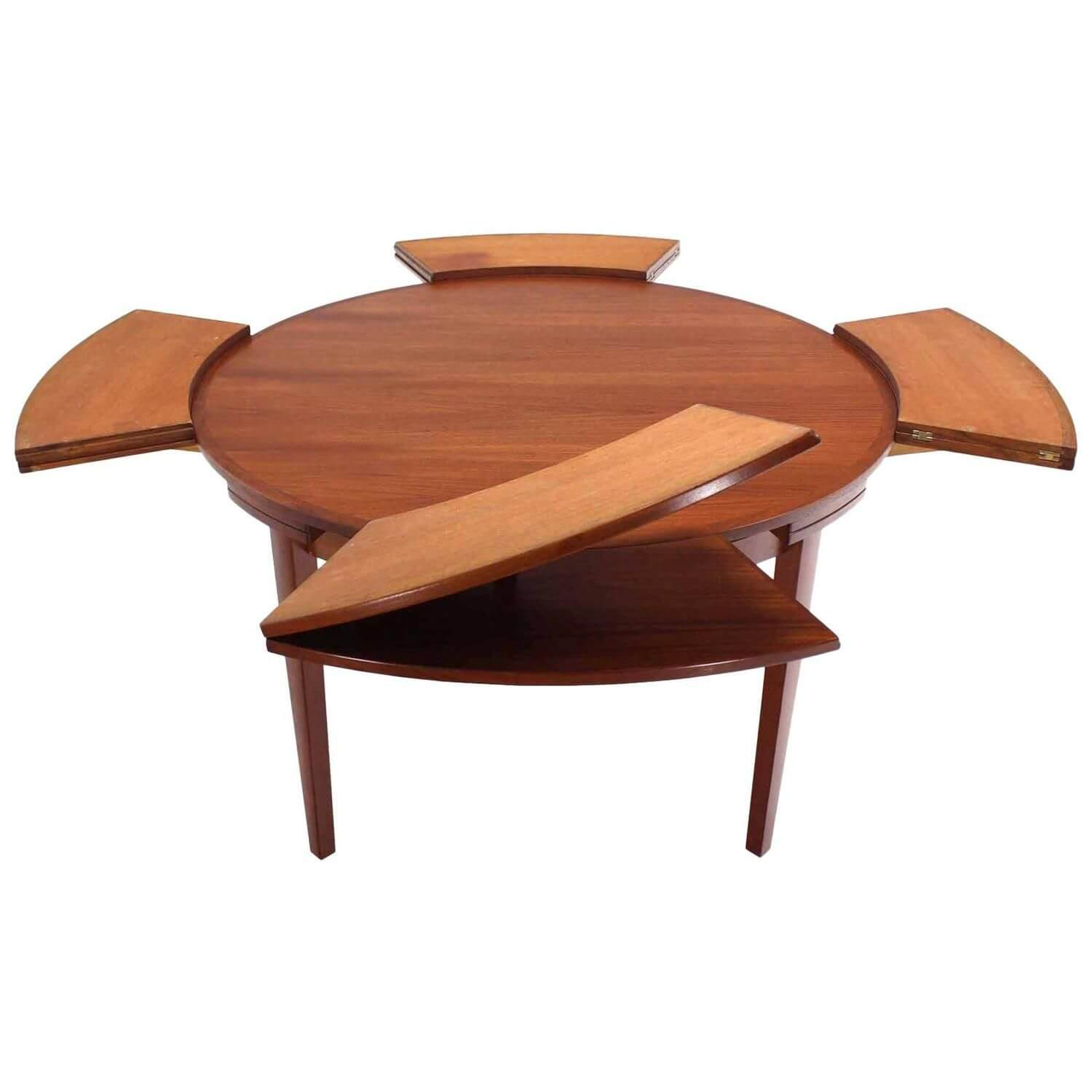FOLD AND DROP WOOD EXPANDABLE ROUND DINING TABLE