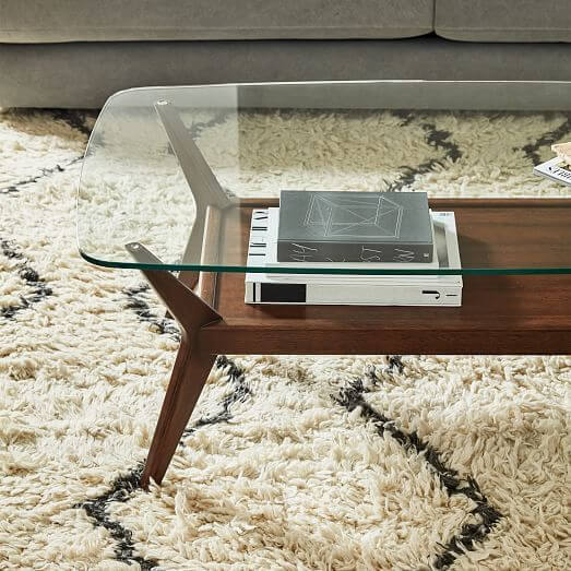 JENSEN MID CENTURY MODERN WOOD AND GLASS COFFEE TABLE