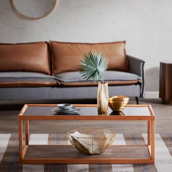 LINE TWO LEVEL WOOD AND GLASS COFFEE TABLE