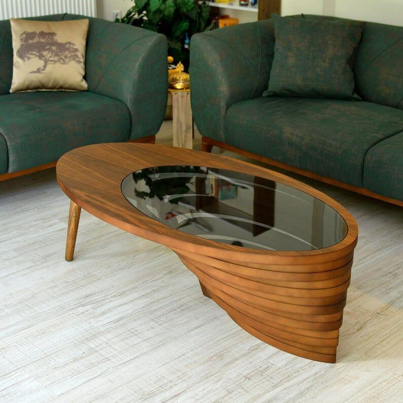 OVAL ROYAL WOOD AND GLASS COFFEE TABLE