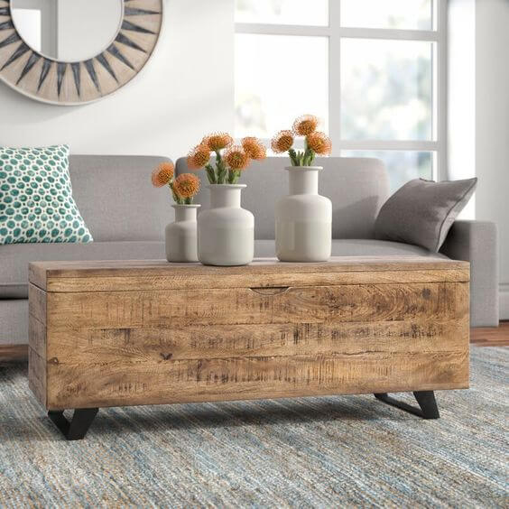 OVID SOLID DISTRESSED WOOD COFFEE TABLE