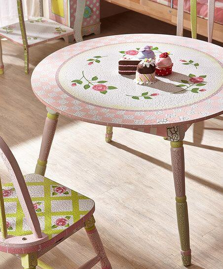 SHABBY CHIC SET WOODEN TABLE AND CHAIR SET FOR TODDLERS