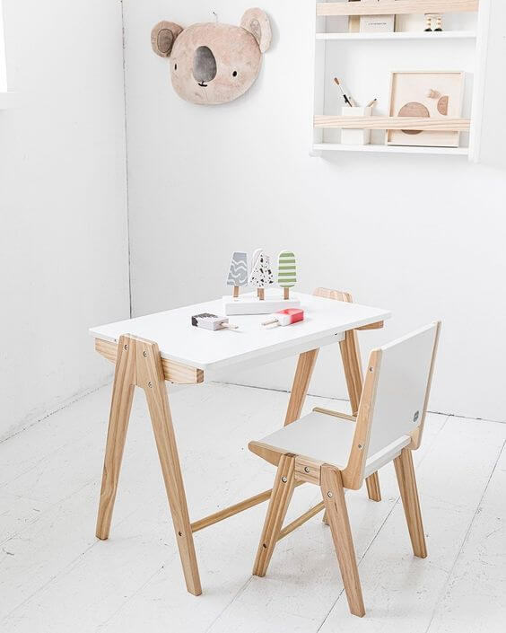 SINGLE HIGH SET WOODEN TABLE AND CHAIR SET FOR TODDLERS