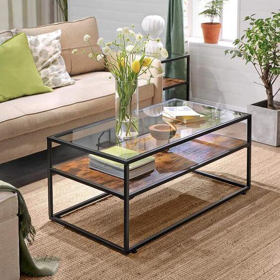 SLIM INDUSTRIAL WOOD AND GLASS COFFEE TABLE