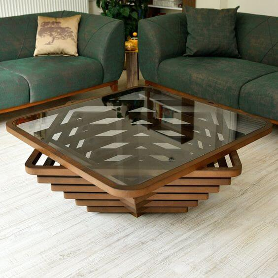 THE DOWNWARD PYRAMID WOOD AND GLASS COFFEE TABLE