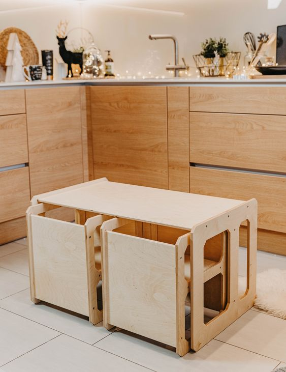 THE MONTESSORI SET WOODEN TABLE AND CHAIR SET FOR TODDLERS