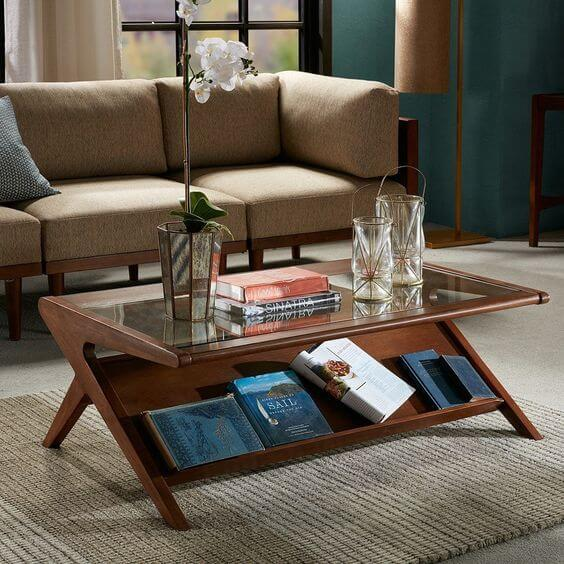 THE ROCKET WOOD AND GLASS COFFEE TABLE