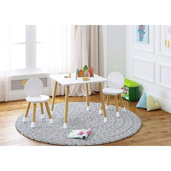 THE SCANDINAVIAN WOODEN TABLE AND CHAIR SET FOR TODDLERS
