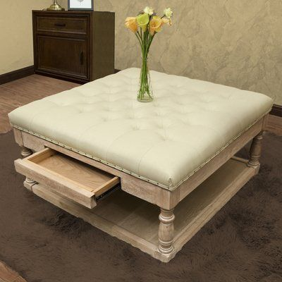 TUFTED REAL WOOD COFFEE TABLE