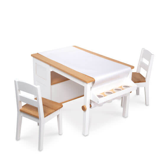 WOODEN TABLE AND CHAIR SET FOR TODDLERS TWO TONE CRAFT TABLE